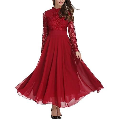 fe781d2c375 Aofur Women s Long Sleeve Chiffon Maxi Dresses Casual Floral Lace Evening  Cocktail Party Long Dress