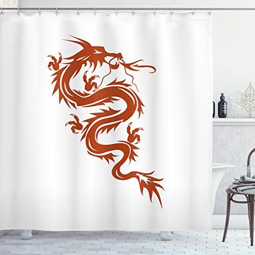 ABAKUHAUS Drachen Duschvorhang, Mythologie Figur, mit 12 Ringe Set Wasserdicht Stielvoll Modern Farbfest & Schimmel Resistent, 175x200 cm, Weiß Rot