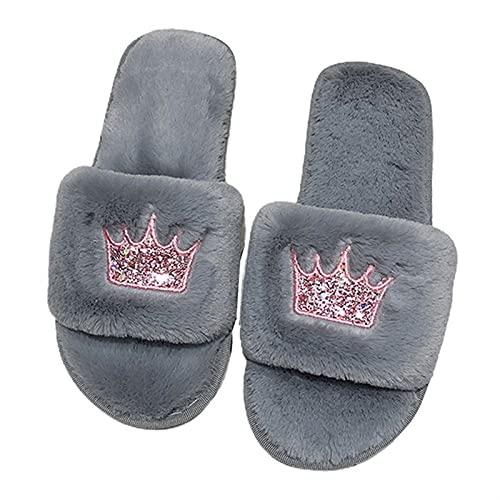 Pantuflas Mujeres Fluffy Winter Sandalia Sandalia Open Sandal Sandalia Piso Caliente Faux Piel Slipper Home Shoes Pantuflas Mujer (Color : B, Shoe Size : 38-39)