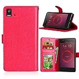 JEEXIA Funda para BQ Aquaris E5 4G 5.0pulgada, Moda Business Flip Wallet Case Cover PU Cuero con Soporte Cubierta Protectora - Rojo