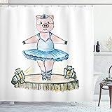 ABAKUHAUS Ballerina Duschvorhang, Schwein mit Outfit auf der Bühne, Seife Bakterie Schimmel & Wasser Resistent inkl. 12 Haken & Farbfest, 175x220 cm, Mehrfarbig