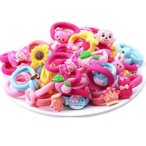 Cuhair Elastische Haarbänder / Haargummis, niedliche Cartoonfiguren, geeignet für kleine Mädchen, für Pferdeschwanz, Haar-Zubehür, 20 Stück
