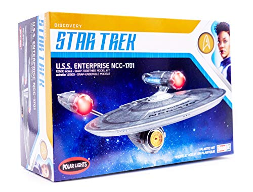 Polar Lights Star Trek Discovery USS Enterprise - 1/2500 Scale Snap Assembly Plastic Model Kit - Buildable Spaceship for Kids and Adults