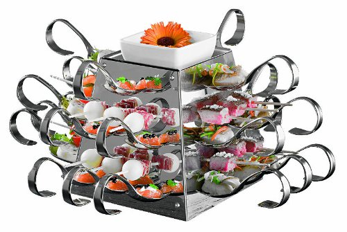 APS Paderno World Cuisine Stainless Steel Buffet Display with 24 Tasting Spoons and 24 Skewers, 6-5/8-Inch by 6-5/8-Inch by 6-5/8-Inch