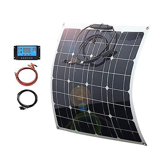 Panel flexible Solar 50w 12v Kits de cargador portátil Inicio Mono 5v Usb para teléfono 12v Batería Rv Coche Barco Camping Senderismo Impermeable-Kit 50w con 10A
