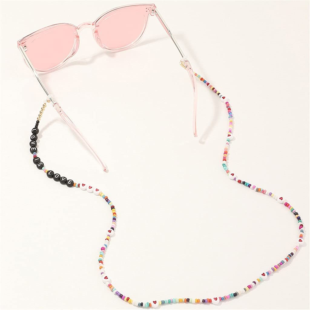 NJBYX Colorful Beaded English Alphabet Lanyard Hold Straps Cords Reading Glasses Chain Women Sunglasses Accessories (Color : A, Size : Length-70CM)