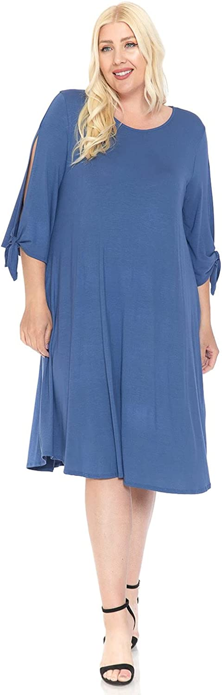 Pastel by Vivienne Women's Midi Dress with Tie Sleeve Plus Size