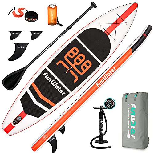 FunWater SUP Inflatable Stand Up Paddle Board 11'x33''x6'' Ultra-Light (18.5lbs) Paddleboard with ISUP Accessories,Fins,Adjustable Paddle, Pump,Backpack, Leash, 10L Dry Bag