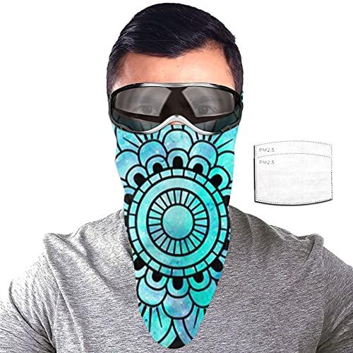 ZORIN Pañuelos de protección solar con 2 filtros para el cuello, diseño de mandala indio azul