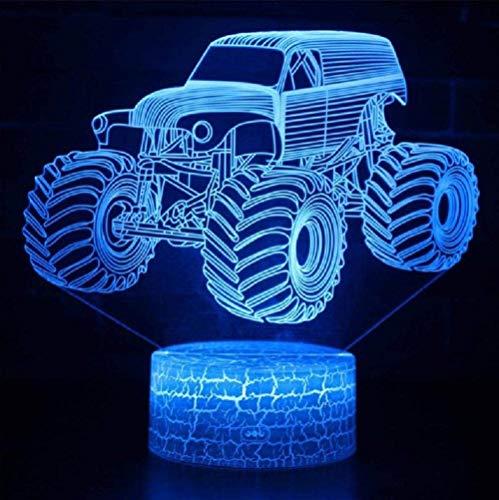 XZHYMJ 3D Illusion LED Lampe Monster Truck Modell Nachtlichter für Kinder Schlafzimmer Dekoration Kreative Geschenklampen
