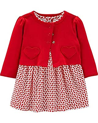 Carter's Valentines Day Dress with Red Cardigan for Baby Girls (Newborn)