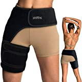 Vriksasana Groin Hip Brace | Sciatica Support Wrap | Hamstring Compression Sleeve for Men and Women for Pulled Quadriceps Thigh Muscle, Hip Flexor Strain, Bursitis and Arthritis (Right Leg)