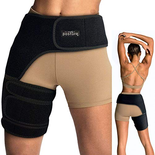Vriksasana Groin Hip Brace | Sciatica Support Wrap | Hamstring Compression Sleeve for Men and Women for Pulled Quadriceps Thigh Muscle, Hip Flexor Strain, Bursitis and Arthritis (Left Leg)