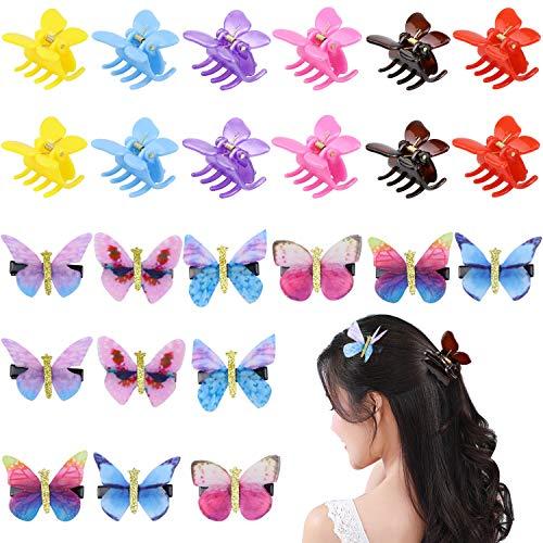 Homgaty 12 Stück Bunte Schmetterlings Haarspangen aus Chiffon, 12 Stück Schmetterlings Klaue Clips, Verschiedene Schmetterlinge, für Baby, Mädchen, Frauen, Hochzeits Haarschmuck