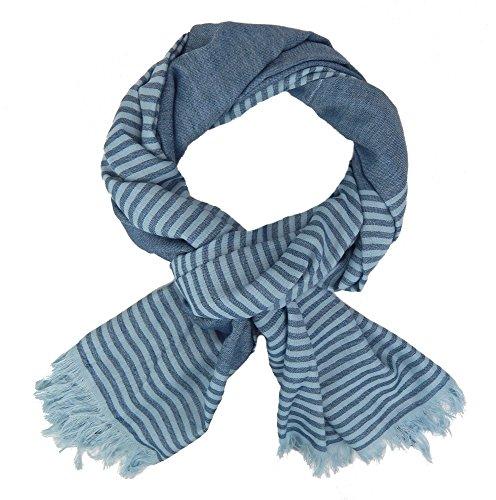 Ella Jonte écharpe homme rayé bleu large écharpe homme maritime unisexe