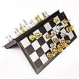 DJDEFK Tablero ajedrez 32 / 36cm Conjuntos de ajedrez Medievales de tamaño Grande con Tablero de ajedrez Grande magnético 32 Piezas de ajedrez Mesa Carrom Tablero Juegos Figura Conjuntos Szachy