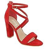 ESSEX GLAM Sandalo Donna Cinturino alla Caviglia Tacco a Blocco Fibbia Festa (UK 3 / EU 36 / US 5, Rosso Finto Scamosciato)