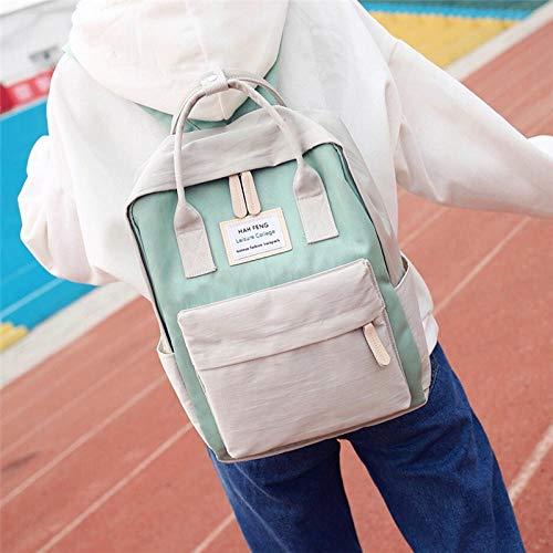 ASD Schultasche Einfacher wasserdichter Segeltuchrucksack kleines frisches weibliches Hochschulwindbeutelstudentenrucksackreisgrau mit neuem Grün