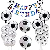 誕生日パーティー飾り サッカー 男の子 ワールドカップサッカー アルミバルーン ストロー ペーパーナプキン バナー ボイズ バルーン 風船 23セット