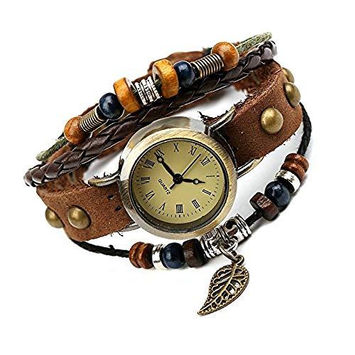 BMGFEW Armband Lederarmbanduhr Vintage Lederarmbanduhr Alternative Mode