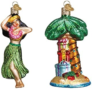 Old World Christmas Hula Dancer and Palm Tree Glass Blown Ornaments from, Hawaiian Gifts