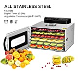 Food Dehydrator,Commercial Stainless Steel Dehydrator Raw Food & Jerky Fruit,400W Preserve Food...