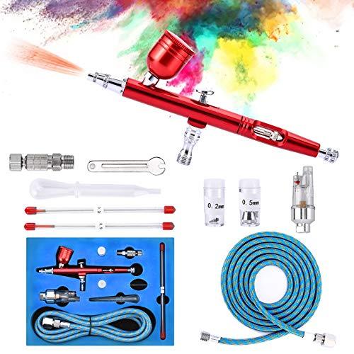 Airbrush-Set, Dyna-Living [Upgrade] Dual Action Trigger Paint Spray Gun Set mit Düsen/Nadeln/Schlauch/Adapter für Make-up/Nagelkunst/Kuchendekoration/Kunstmalerei/Modellbau/Tattoo, Airbrush System Set