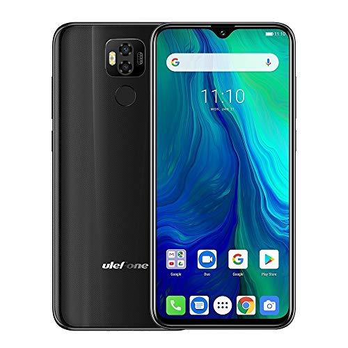 Teléfonos Inteligentes Poder 6, 4 GB + 64 GB, Doble Volver Cámaras, Face ID y identificación de Huellas Dactilares, 6,3 Pulgadas Android 9.0, Dual SIM, NFC, OTG (Color : Negro)