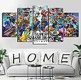 5 paneles de carteles de juegos cuadros de lienzo modulares Super Smash Bros Ultimate pintura abstracta arte impreso decoración de pared 150x80cm con marco