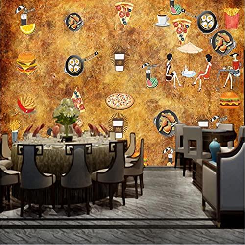 XaseTextiles 3D-Bakgrund Restaurang Hamburgare Korv Bröd Panorama-Icke-Vävd Tapet Sovrum Vardagsrum Tapet Väggdekor Anpassad 3D-Tapet Vardagsrum Väggen För Sovrummet 420X260Cm