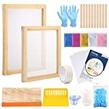 Pllieay 42 Pieces Screen Painting Starer Kit with Instructions, Include 2 Pieces Wood Silk Screen Printing Frames, 5 Colors Fine Glitter, Screen Printing Squeegee, and Waterproof Transparency Films