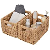 GRANNY SAYS Hand-woven Storage Baskets with Cut-out Handles, Water Hyacinth Wicker Baskets for Organizing, Rectangle Decorative Baskets, Large, 13' x 8.3' x 7.1', Set of 2