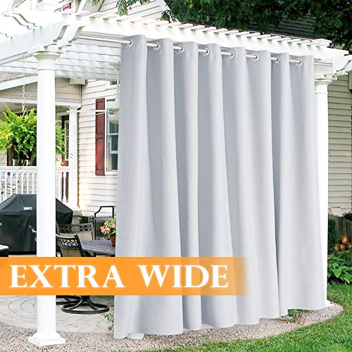 RYB HOME Outdoor White Curtains - Extra Wide Waterproof Curtains for Patio Cabana Balcony Basement Divider Blinds Light Glare Block Heat Diffuse, 120 x 84 inches Long, 1 Pc, Grayish White