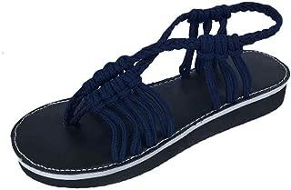 Inlefen Women's Cross Toe Braided Strap Summer Flat Sandals Beach Slippers