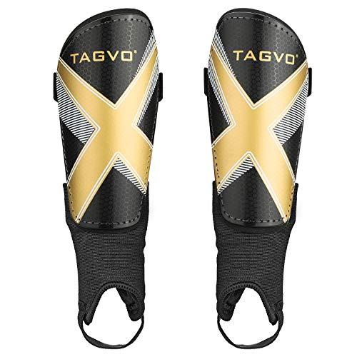 TAGVO Fußball Shin Guards, Kinder Fußball Ausrüstung mit Knöchel Ärmeln Schutz, Erwachsene Jugendgrößen Kind Fußball Shin Pads für Jungen Mädchen Männer Frauen