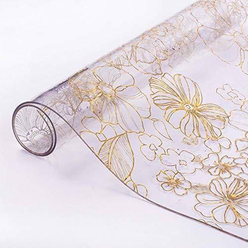 Topashe Rectangular Borla Diseñada Mantel,Mantel de PVC Transparente, Mesa Impermeable Mat-Gold_70 * 240cm,Estilo Minimalista Moderno Mantel