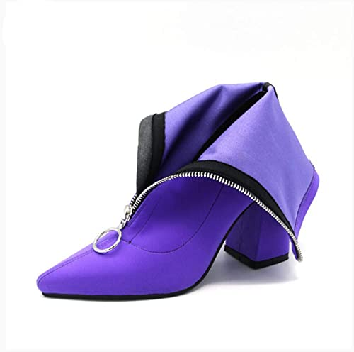HELUMTXM Lycra Femmes Bottes Pointu Toe Talon Carré Chaussures Femme Mode Bottines Noir Pourpre Rose Rouge Bas Chaussures Chaussures Pompes