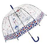 Paraguas Transparente para niños - Paraguas con Forma de corazón para niñas, Resistente al Viento y Ligero con Forma de cúpula automática