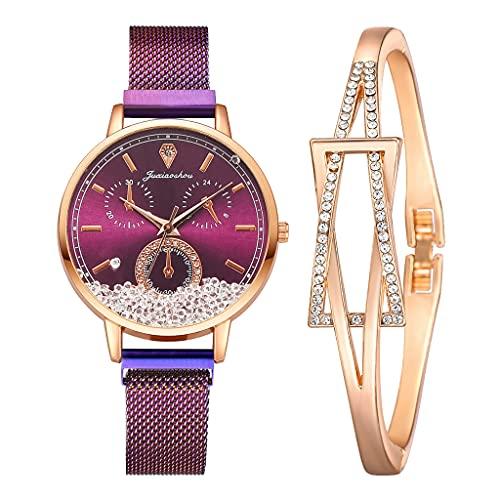 Reloj para Mujeres Moda Reloj de Cuarzo Elegante imán de Hebilla móvil Movible Diamond Señoras Reloj Purple Reloj de Pulsera Regalo (Color : 2pcs Purple Watch)