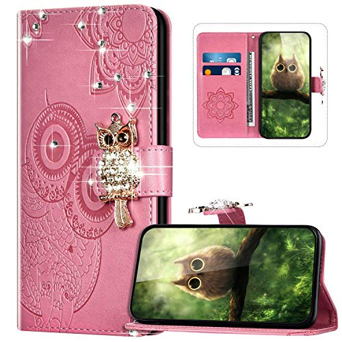 Handyhülle für Xiaomi Redmi Note 7 Hülle Leder,Xiaomi Redmi Note 7 Klapphülle Handytasche Bling Glitzer Diamant Eule Muster Tasche Leder Flip Case Lederhülle Magnetisch Wallet Schutzhülle,Rosa