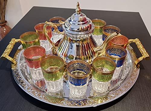 Juego de té completo marroquí, tetera con filtro integrado de induccion de 1.6, Bandeja 46cm redonda con asas y 8 Vasos de cristal
