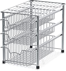 3 pull-out drawer silver cabinet organizer