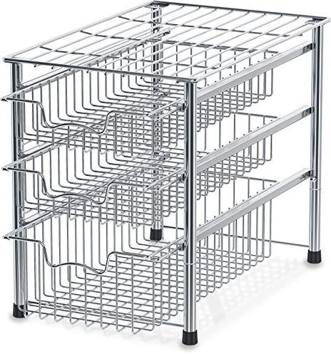Simple Houseware Stackable 3 Tier Sliding Basket Organizer Drawer, Chrome