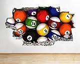 Pegatinas de pared 3D Etiqueta engomada de la habitación de los niños del vinilo 3D de las bolas de la piscina de la mesa de billar