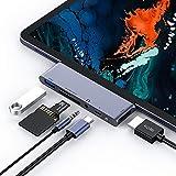 USB C Hub , ipad pro hub 6 en 1 de Type C avec 4K HDMI, Port de Chargement PD, Port USB 3.0, Lecteur de Carte SD/TF, Prise Audio...