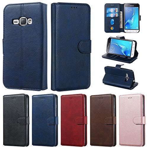 Careynoce Hülle für Samsung Galaxy J1 2016,Einfarbig Kalbsleder PU Leder Brieftasche Flip Cover - mit Magnetisch Ständer Kartenfach Schutzhülle HandyHüllen für Samsung Galaxy J1 2016 J120- Blau