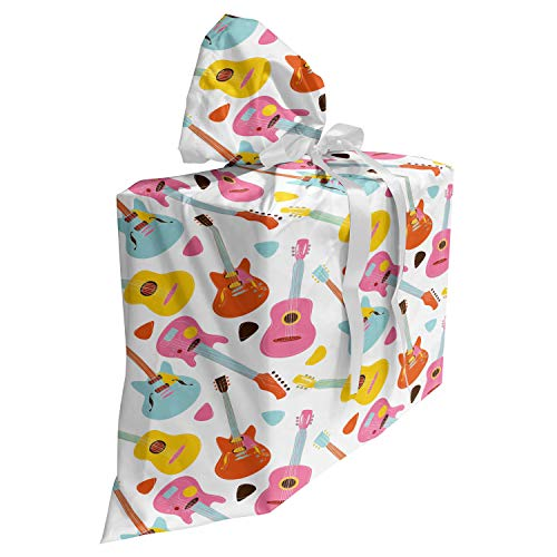 ABAKUHAUS Gitaar Cadeautas voor Baby Shower Feestje, Summer Festival Kleurrijk, Herbruikbare Stoffen Tas met 3 Linten, 70 cm x 80 cm, Veelkleurig