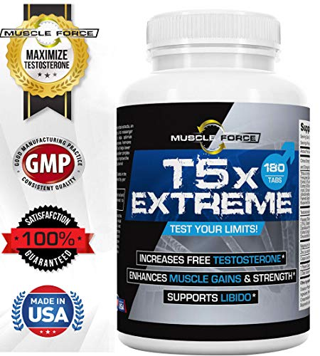 #1 Rated T5X Extreme, Testosterone Booster for Muscle Growth, Libido Enhancement, Multi-Ingredient Formula, Tribulus, Fenugreek and more, One Bottle 180 Tablets 2nd Messenger Set 5x Optimizing Complex