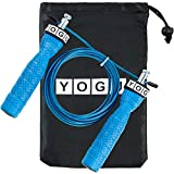 YOGU Speed Jump Rope Adjustable Jumping Ropes Perfect for Double Unders, Exercise Crossfit Fitness Workout, Weight Loss, WOD, MMA, & Boxing Training Ropes (Blue)