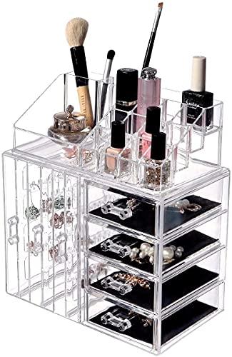 Scatola di immagazzinaggio dell'orecchino: Orecchini acrilici Portashes display Scatole di stand con 4 cassetti trasparenti - Orecchini in plastica trasparente Caso Stand for anello for trucco for tru